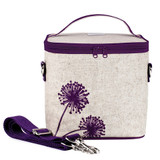 So Young Raw Linen Cooler Bag - Purple Dandelion
