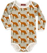 Milkbarn Organic Cotton Long Sleeve Onesie - Orange Fox