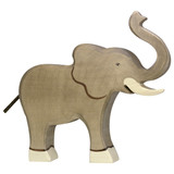 Elephant with Trunk Raised by Holztiger