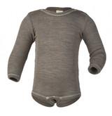 Engel Baby Body Snaps Organic Merino Wool/Silk - Walnut