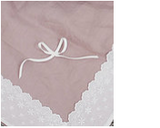 Lightweight linen toddler blanket pink with white lace