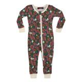 Milkbarn Bamboo Zipper Pajamas - Teal Floral