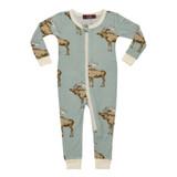 Milkbarn Bamboo Zipper Pajamas - Bow Tie Moose