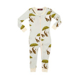Milkbarn Bamboo Zipper Pajamas - Blue Panda