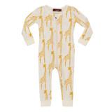 Milkbarn Organic Zipper Pajamas - Yellow Giraffe