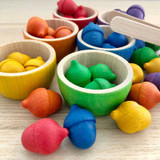 Grapat Coloured Bowls and Acorns with Tongs