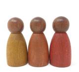 Grapat Nins - Dark Wood, Warm Colors - Set of 3 Peg Dolls