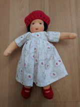 Handmade Dressable Doll with Red Hat and Black