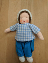 Handmade Dressable Doll with White Hat and Brown Hair