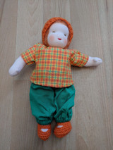 Handmade Dressable Doll with Orange Hat and Orange Hair