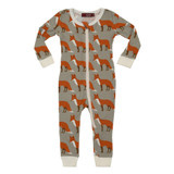 Milkbarn Organic Cotton Zipper Pajamas - Orange Fox