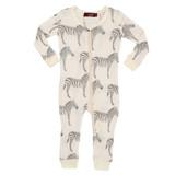 Milkbarn Organic Cotton Zipper Pajamas - Grey Zebra