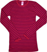 Engel Organic Merino Wool/Silk Kids Shirt - Cherry Red/Orchid