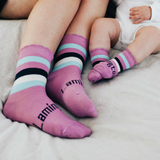 Lamington Crew Length Wool Socks Boysenberry Striped