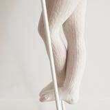 Lamington Merino Wool Tights Cable Knit - Cream