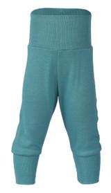 Engel Baby Pants with Waistband in Organic Merino Wool/Silk - Ice Blue