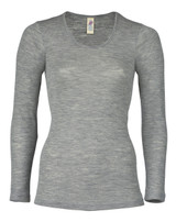 Engel Organic Merino Wool/Silk Women's Long Sleeved Shirt - Grey Melange
