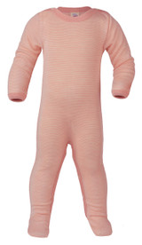 Engel Footed Sleep Overall Organic Merino Wool/Silk - Salmon/Natural