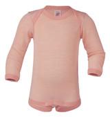 Engel Baby Onesie Organic Merino Wool/Silk - Salmon Natura