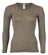 Engel Organic Merino Wool/Silk Women's Long Sleeved Shirt - Walnut