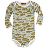 Milkbarn Bamboo Long Sleeve Onesie - Blue Fish