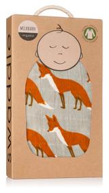 Milkbarn Organic Cotton Swaddle - Orange Fox