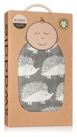 Milkbarn Organic Cotton Swaddle - Grey Hedgehog