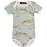 Milkbarn Bamboo Onesie Short-Sleeve - Blue Ships