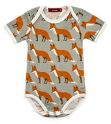 Milkbarn Organic Cotton Onesie Short-Sleeve - Orange Fox