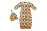 Milkbarn Organic Cotton Newborn Gown & Hat Set - Orange Fox