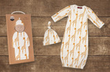 Milkbarn Organic Cotton Newborn Gown & Hat Set