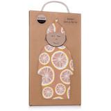 Milkbarn Organic Cotton Newborn Gown & Hat Set - Grapefruit