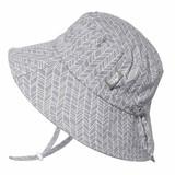 Twinklebelle Bucket Cotton Sun Hat -Grey Herringbone