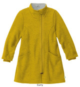 Disana Children's Boiled Wool Coat with Zipper Curry