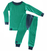 Wee Woollies Pajama 2 Piece Set - Koru/Charcoal (green/grey)