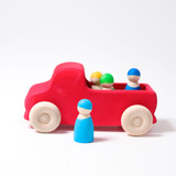 Grimm's Red Truck (09440) Rainbow friends peg dolls not included