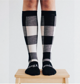Lamington Merino Knee High Length Wool Socks Woman - Jumbo (black and natural check)