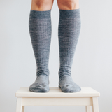 Lamington Merino Wool Socks Women's - Knee High - Grey Rib