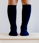 Lamington Knee High Length Wool Socks - Navy Rib