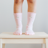 Lamington Crew Length Wool Socks Jasmine Frill (pistachio, natural, cherry blossom print)
