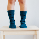 Lamington Crew Length Wool Socks - Lake (deep lake blue/black dots)