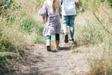 Lamington Crew Length Wool Socks - Lily (deep lake blue/cherry blossom pink/natural) 2 years - Youth