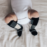 Lamington Knee-High Wool Socks Jumbo (black and natural check)