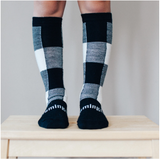 Lamington Knee-High Wool Socks Jumbo (black and natural check)