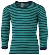 Engel Organic Merino Wool/Silk Kids Shirt - Ice Blue/Navy (up to 12T)