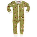 Milkbarn Organic Cotton Zipper Pajamas - Green Dog