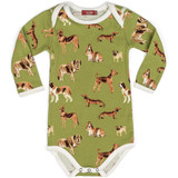 Milkbarn Organic Cotton Long Sleeve Onesie - Green Dog