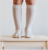 oatmeal cable sock knee high
