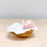Hanging Pink Baby in Walnut - Flower Children