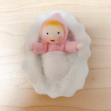 Hanging Pink Baby in Walnut - Flower Children